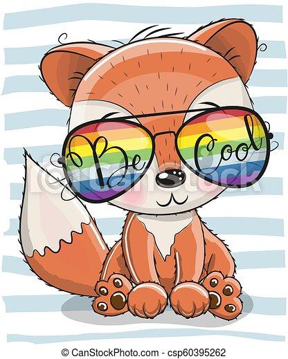 Cute Fox with sun glasses - csp60395262