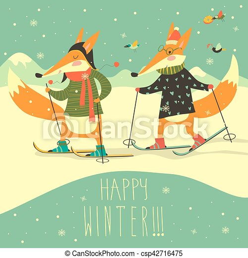 Cute foxes skiing on the piste - csp42716475