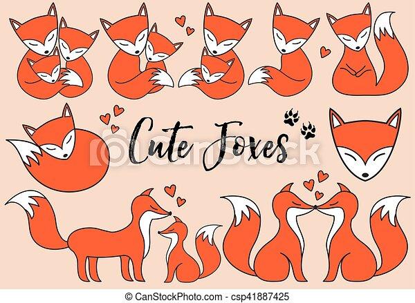 Cute foxes, vector set - csp41887425