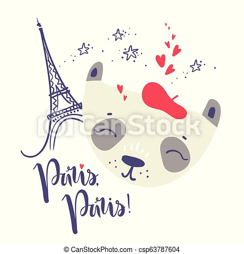 Cute French baby panda. Hand drawn vector illustration. For kid' - csp63787604