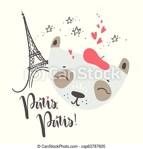 Cute French baby panda. Hand drawn vector illustration. For kid' - csp63787605