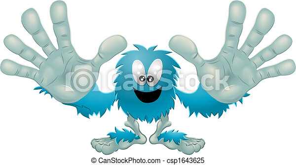 Cute friendly furry blue monster - csp1643625