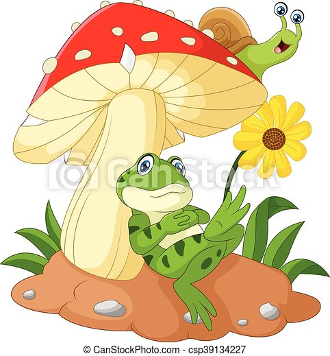 Cute frog and snail cartoon with mu - csp39134227