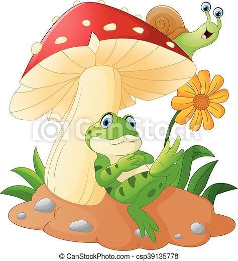 Cute frog and snail cartoon with mu - csp39135778