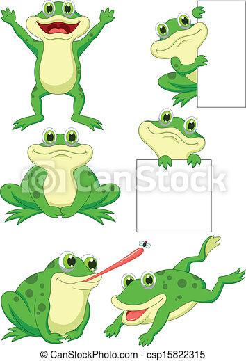 Cute frog cartoon collection set  - csp15822315