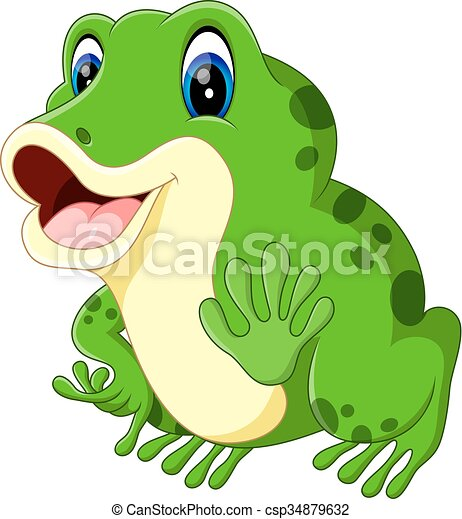 Cute frog cartoon - csp34879632