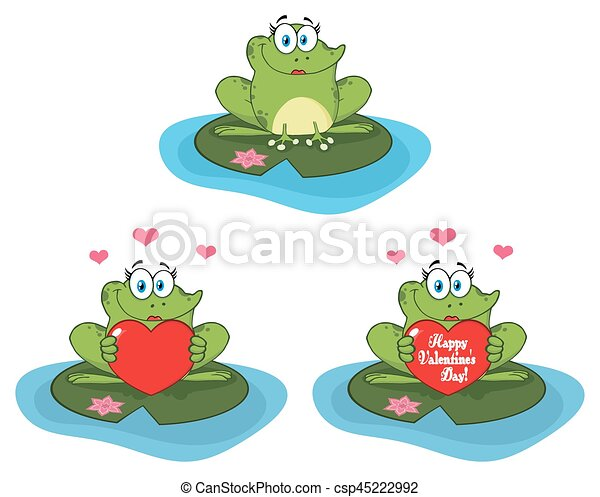 Cute Frog Cartoon Mascot Character. Collection - csp45222992
