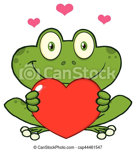 Cute Frog Cartoon Mascot Character Holding A Valentine Love Heart - csp44461547