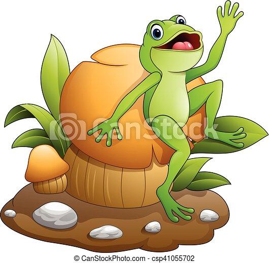 Cute frog dancing with mushroom - csp41055702