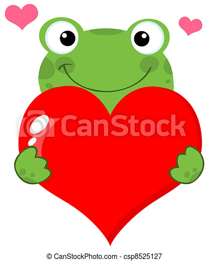 Cute Frog Holding A Heart - csp8525127