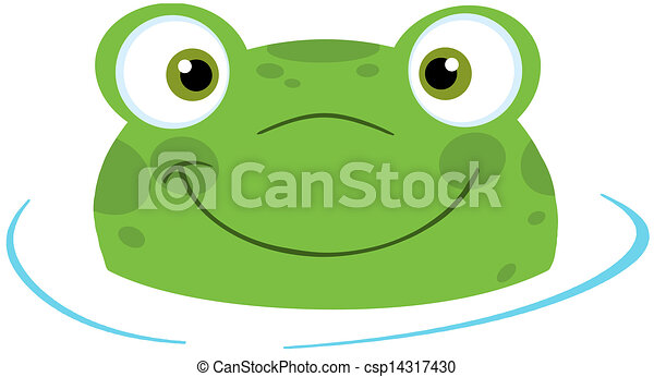 Cute Frog Smiling From Water - csp14317430