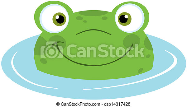 Cute Frog Smiling From Water - csp14317428
