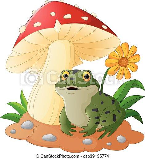 Cute frog with mushrooms - csp39135774