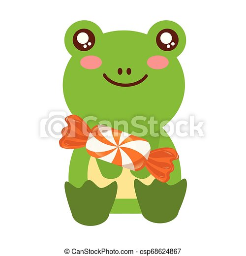 cute frog with sweet candy - csp68624867