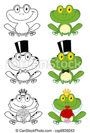 Cute Frogs Cartoon Characters - csp6839243