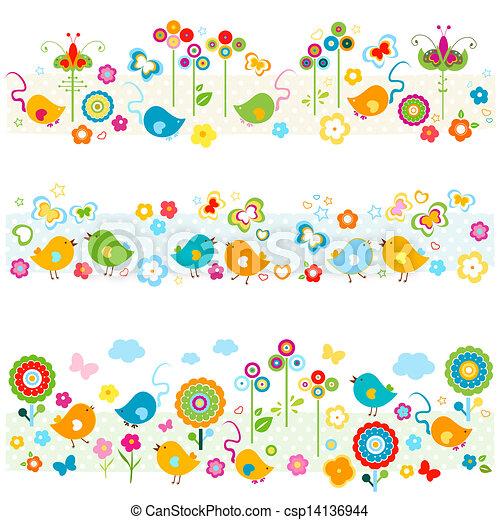 cute, fronteiras, elementos, coloridos, natureza - csp14136944