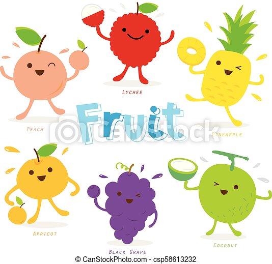 Cute Fruit Cartoon Character Vector - csp58613232