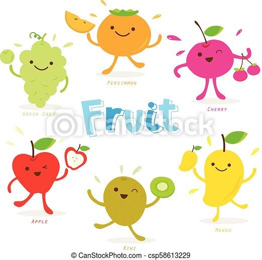 Cute Fruit Cartoon Character Vector - csp58613229