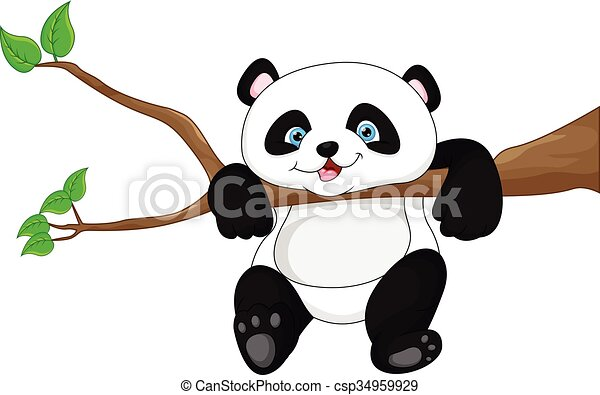 Line Art Baby : Vector illustration of cute funny baby panda hanging on the