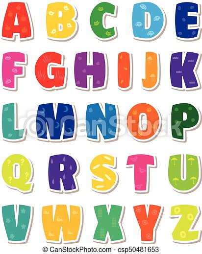 Cute funny childish alphabet vector font illustration altavistaventures Image collections