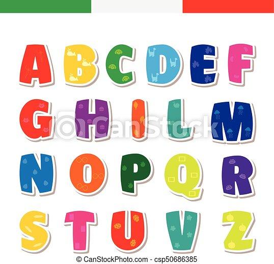 Cute Funny Childish Italian Alphabet Vector Font Illustration
