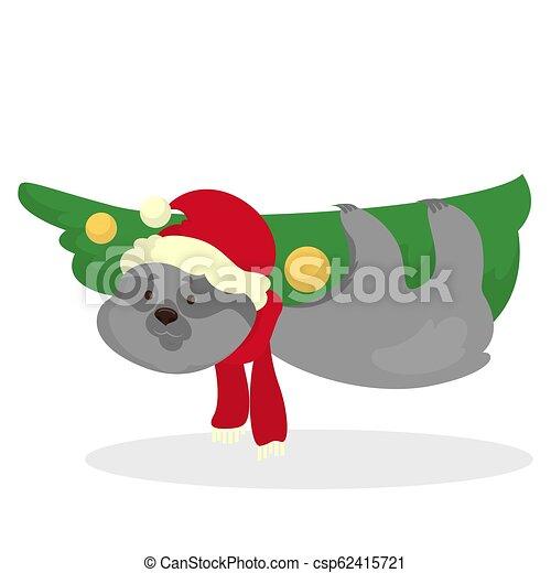 Christmas Sloth.Cute Funny Christmas Sloth Hanging On Branch