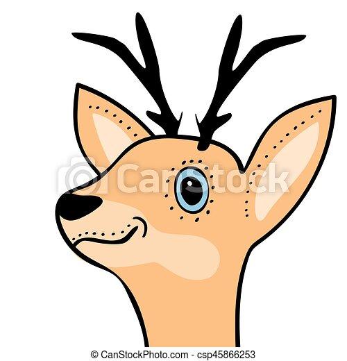 cute funny deer head cartoon vector illustration clipart vector rh canstockphoto com cartoon picture of deer head cartoon deer head silhouette