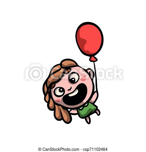 Cute funny girl in green dress with red balloon - csp71102464