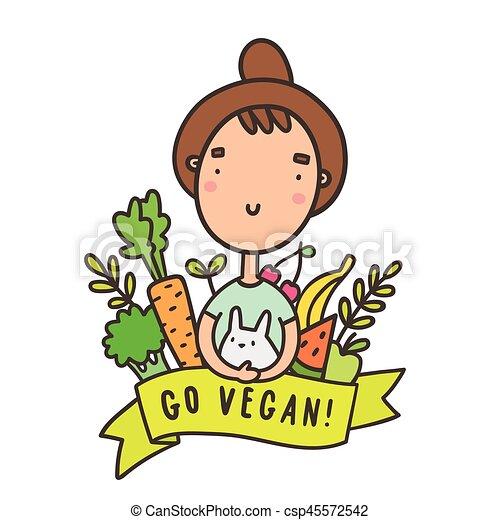 Cute funny girl with rabbit. Go vegan - csp45572542