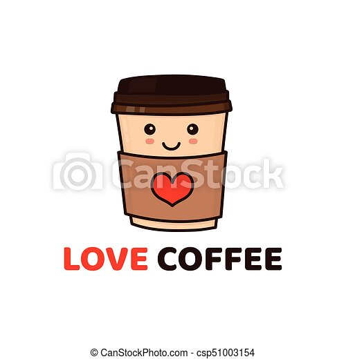 cute funny happy paper coffee cup vector modern style flat