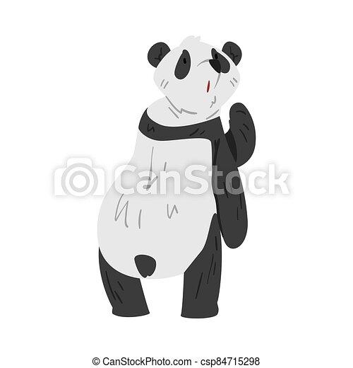 Cute Funny Panda Bear, Lovely Wild Animal Cartoon Style Vector Illustration on White Background - csp84715298