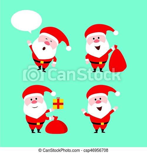 Cute funny santa claus. vector set. merry christmas. flat style ...