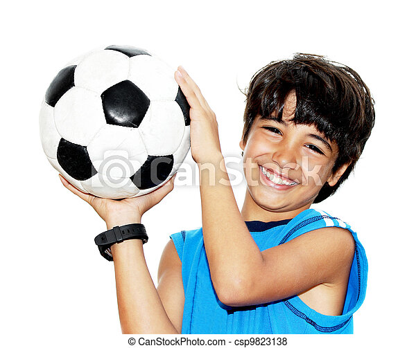 cute, futebol, tocando, menino - csp9823138
