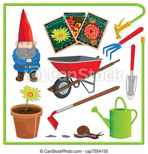 Cute gardening elements  - csp7554155