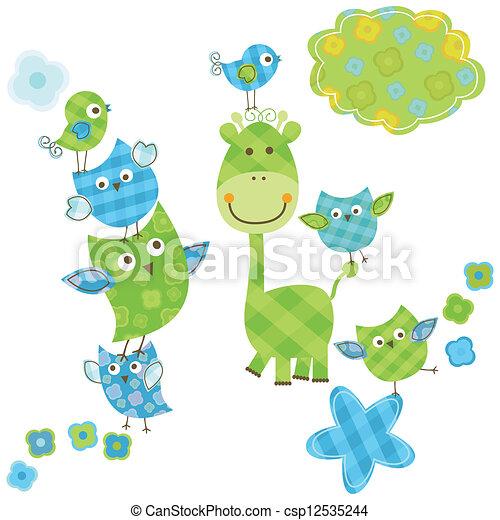 cute, girafa, pássaros, & - csp12535244