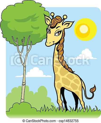 Cute Giraffe and Tree - csp14832755
