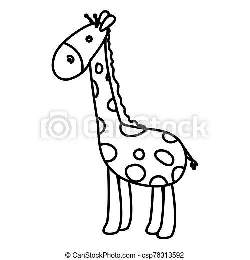 cute giraffe animal line style icon - csp78313592