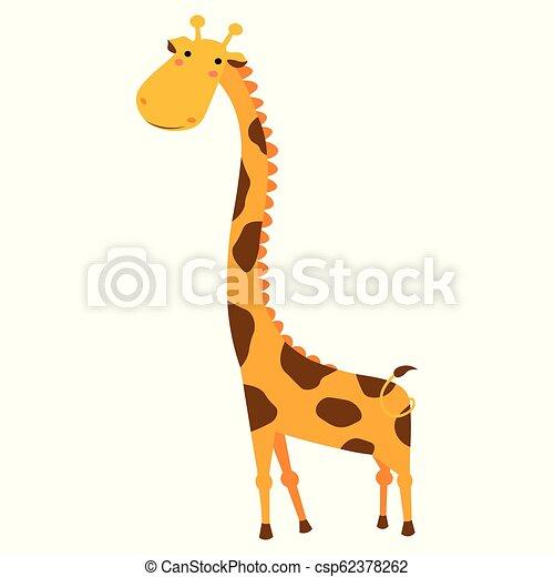 Cute Giraffe Cartoon Isolated On White Background Giraffe In A