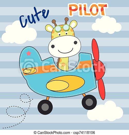 Cute Giraffe Pilot Cartoon Flying On Airplane Flat Clipart