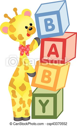 scalable vectorial image representing a cute giraffe with baby blocks clip art black and white baby blocks letters clipart