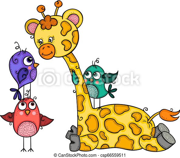 Cute giraffe with three birds - csp66559511