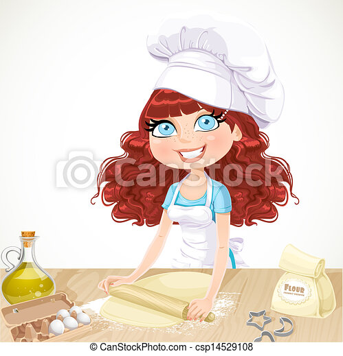 Cute girl baking cookies - csp14529108