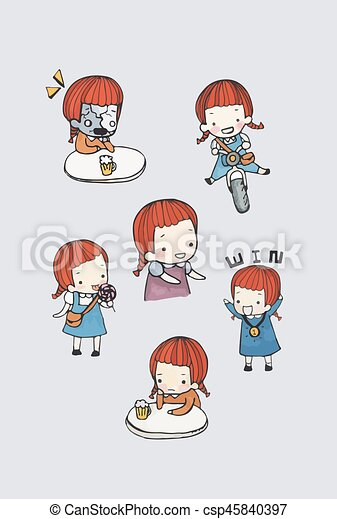 Cute Girl Character Vector Set In Different Poses Simple Flat