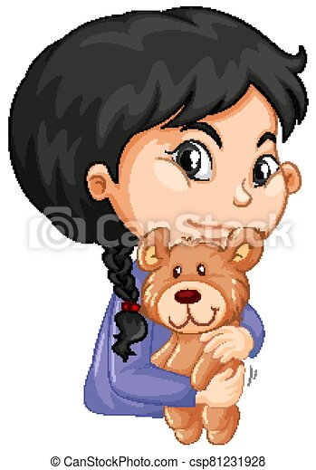 Cute girl hugging teddy bear on white background - csp81231928