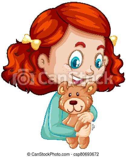 Cute girl hugging teddy bear on white background - csp80693672