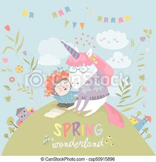 Cute girl hugging unicorn. Spring wonderland - csp50915896