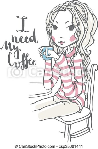 Cute Girl Illustration Beautiful Chic Girl Holding Coffee Cup