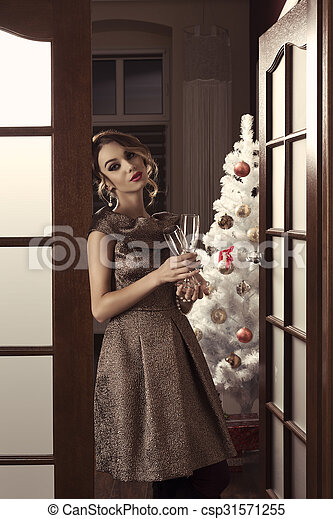 9200a8743440 Cute girl in classy christmas night party. Sensual woman with ...