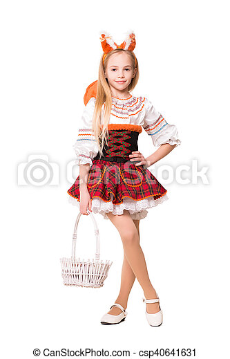 Cute girl in squirrel dress - csp40641631