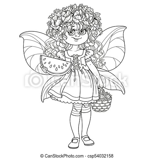 Cute girl in the costume of a summer fairy in flower wreath with watermelon and strawberry  sc 1 st  Can Stock Photo & Cute girl in the costume of a summer fairy in flower wreath with ...